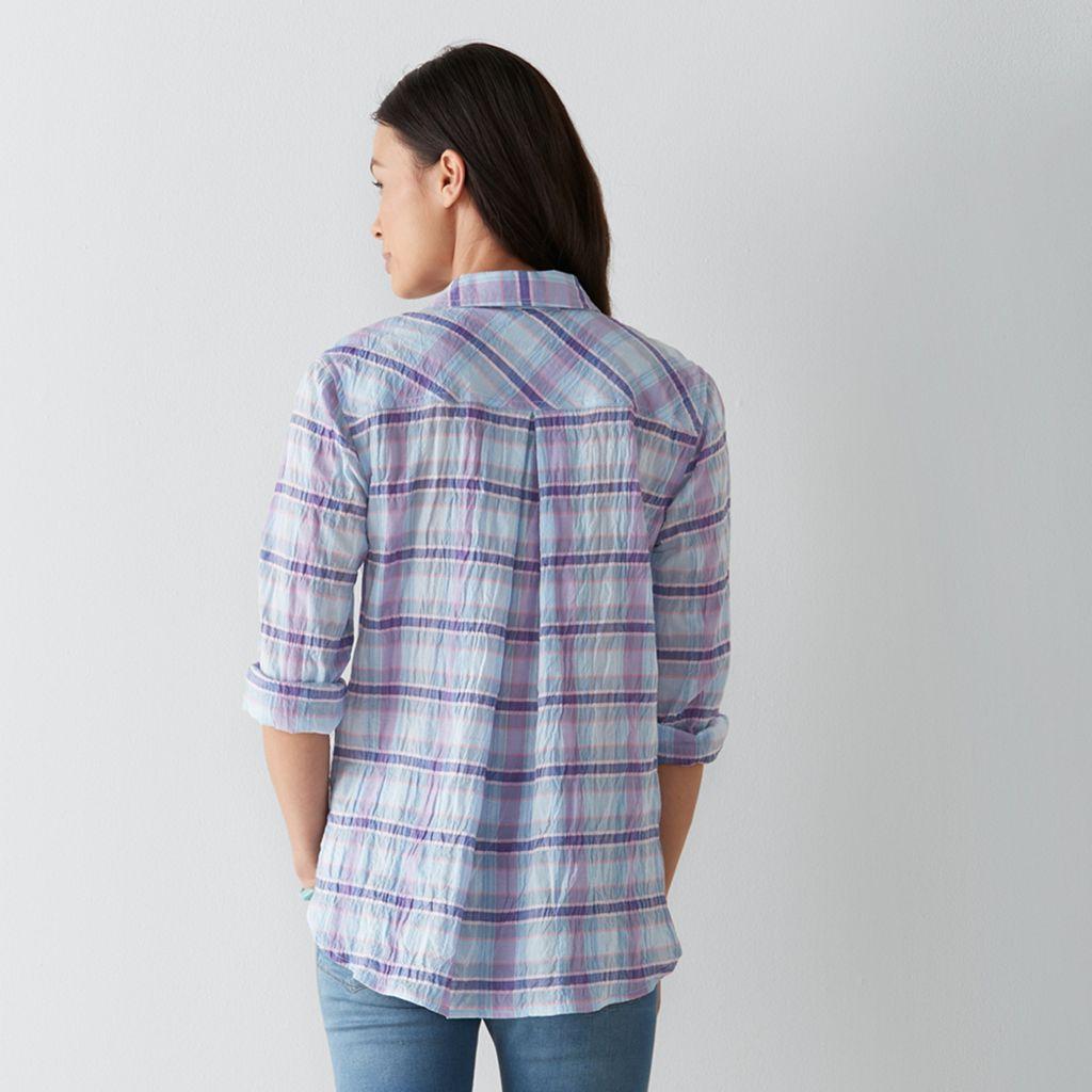 Petite SONOMA Goods for Life™ Essential Plaid Shirt