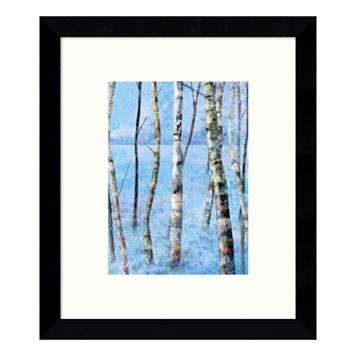 Blue Winter I Birch Trees Framed Wall Art