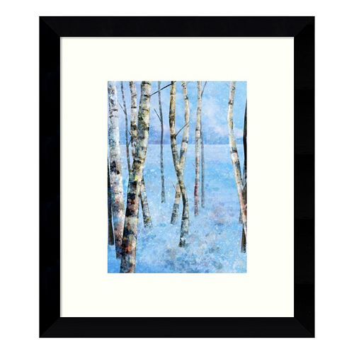 Blue Winter II Birch Trees Framed Wall Art