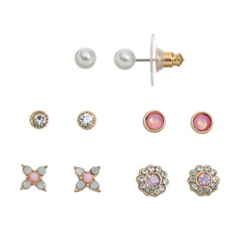 LC Lauren Conrad Flower & Round Stud Earring Set