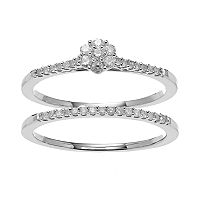 Sterling Silver 1/4 Carat T.W. Diamond Cluster Engagement Ring Set