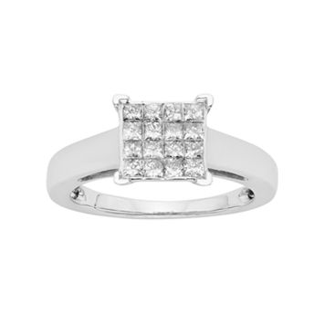 Platilite 1/2 Carat T.W. Diamond Square Cluster Engagement Ring