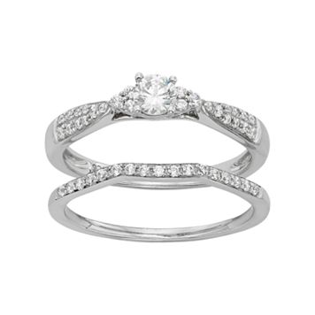 10k White Gold 1/2 Carat T.W. Diamond Engagement Ring Set