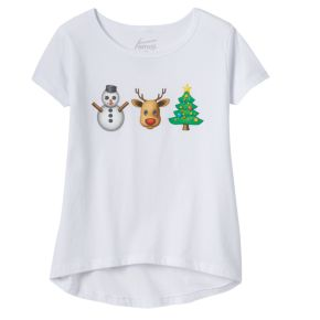 Girls 7-16 Christmas Emoji's High-Low Graphic Tee