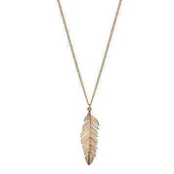 LC Lauren Conrad Long Leaf Pendant Necklace