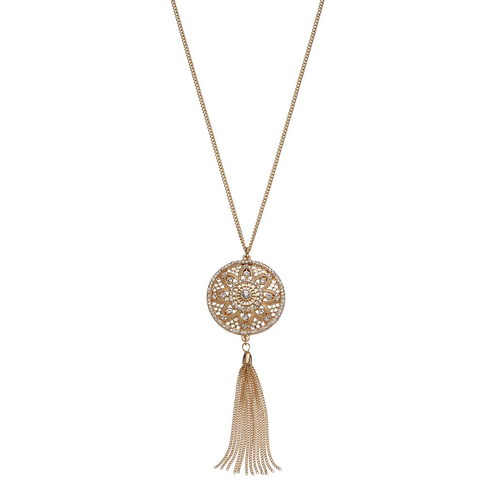 LC Lauren Conrad Long Medallion Tassel Pendant Necklace