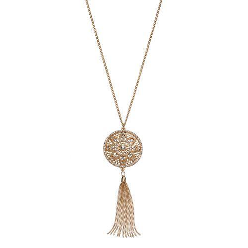 LC Lauren Conrad Long Medallion Tassel Pendant Necklace
