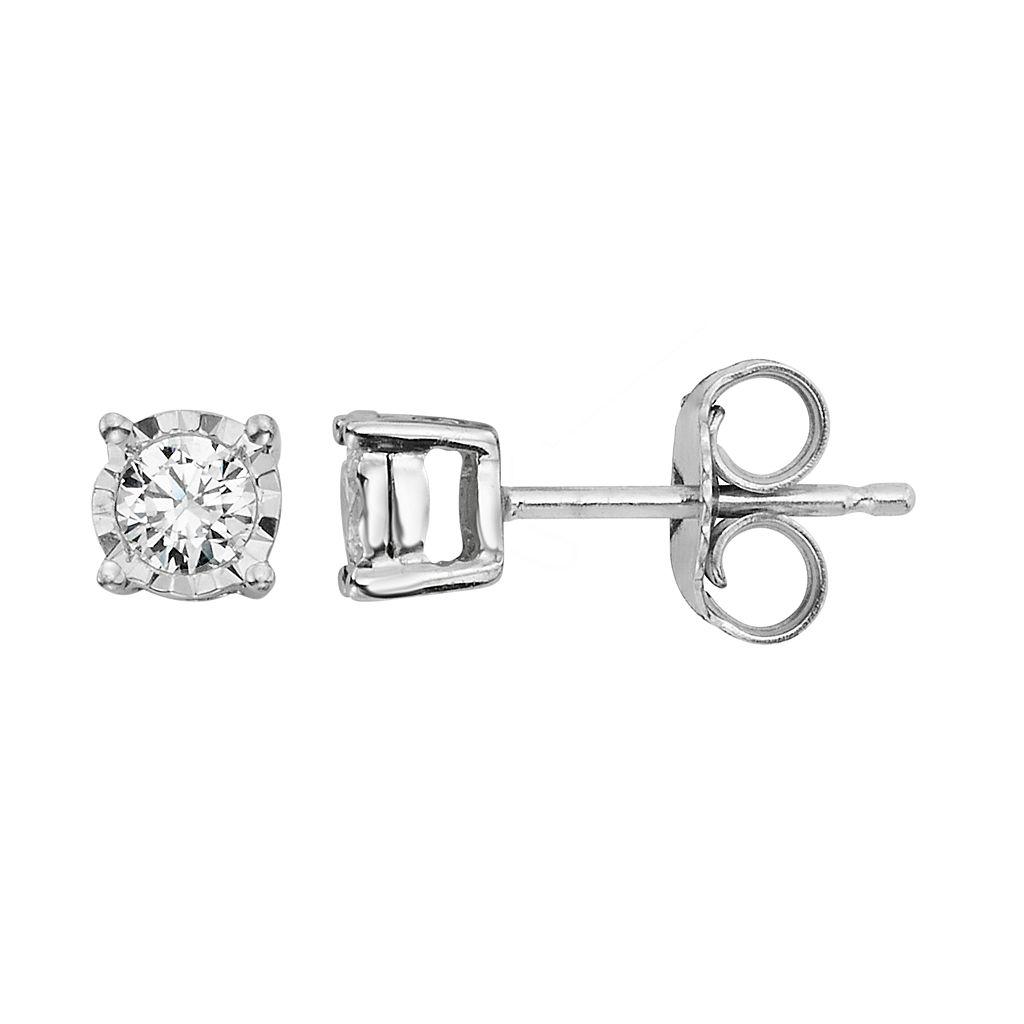 14k White Gold Diamond Accent Stud Earrings