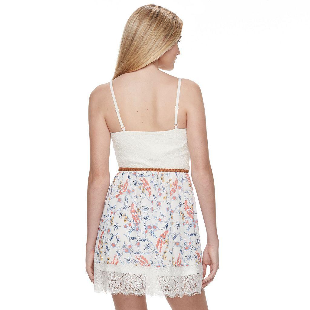 Juniors' Lily Rose Floral Sweetheart Skater Dress