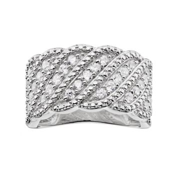10k White Gold 3/4 Carat T.W. Diamond Scalloped Wave Ring