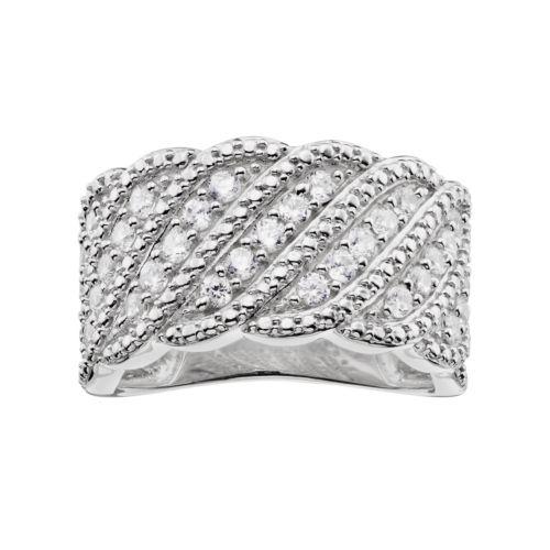 10k White Gold 3/4 Carat T.W. Diamond Scalloped Wave Ring