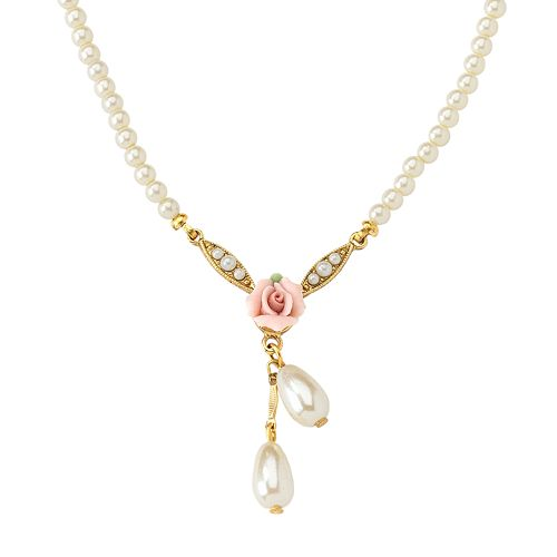 1928® Gold-Tone Simulated Pearl & Rose Necklace