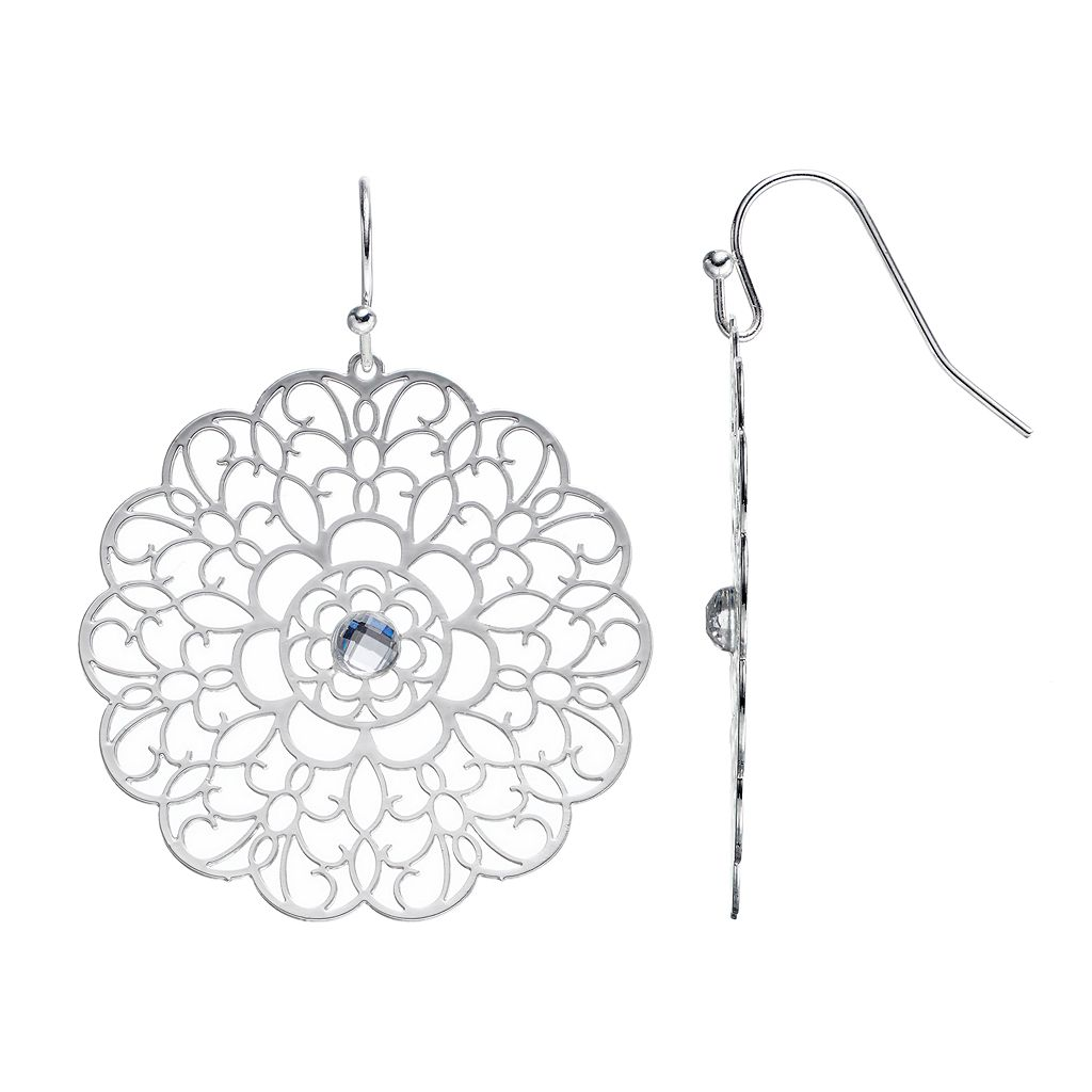 LC Lauren Conrad Filigree Flower Drop Earrings
