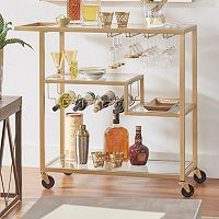 HomeVance Marilyn Step Tier Shelf Bar Cart