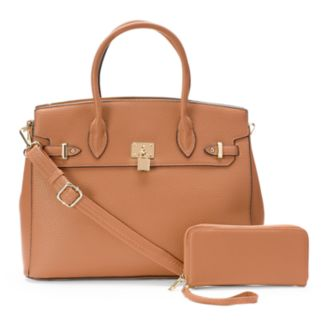 Deluxity 2-in-1 Elena Lock Satchel with Wallet