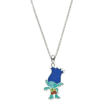 DreamWorks Trolls Kids' Blue Crystal Branch Pendant Necklace
