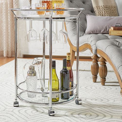HomeVance Martina Round Glass Shelf Bar Cart