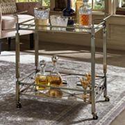 HomeVance Maxine Mirrored Metal Bar Cart