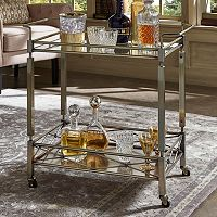 HomeVance Maxine Mirrored Metal Bar Cart