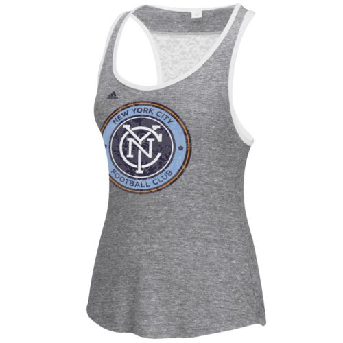 Women's adidas New York City FC Pearl Logo Lace Back Tank Top