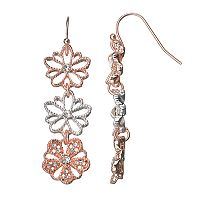 LC Lauren Conrad Two Tone Triple Flower Linear Drop Earrings