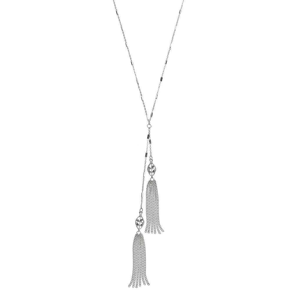 LC Lauren Conrad Long Asymmetrical Tassel Necklace