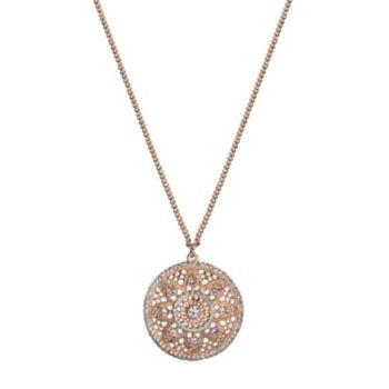 LC Lauren Conrad Long Openwork Medallion Disc Pendant Necklace
