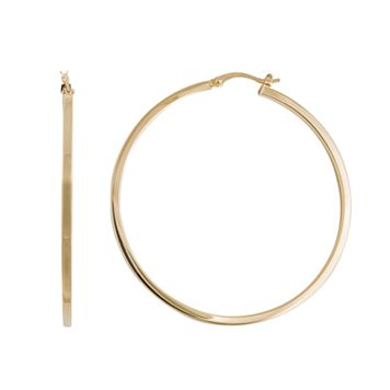 Silver Classics Gold Tone Sterling Silver Hoop Earrings