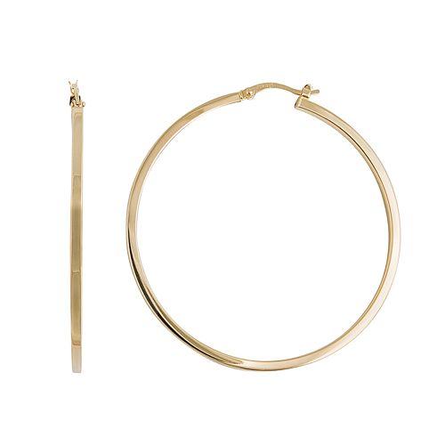 Silver Classics Gold Tone Sterling Silver Hoop Earrings