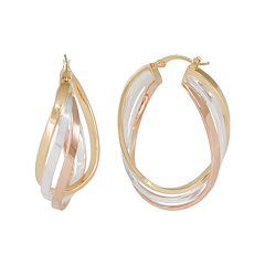 Silver Classics Tri Tone Sterling Silver Oval Hoop Earrings