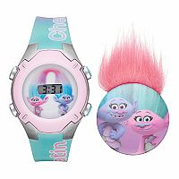 DreamWorks Trolls Chenille & Satin Kids' Digital Light-Up Watch & Pin Set
