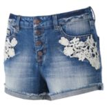 Juniors' Mudd® Crochet Jean Shortie Shorts