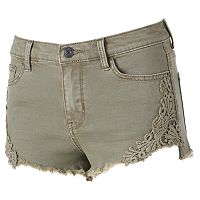 Juniors' Mudd® High Waist Crochet Jean Shortie Shorts