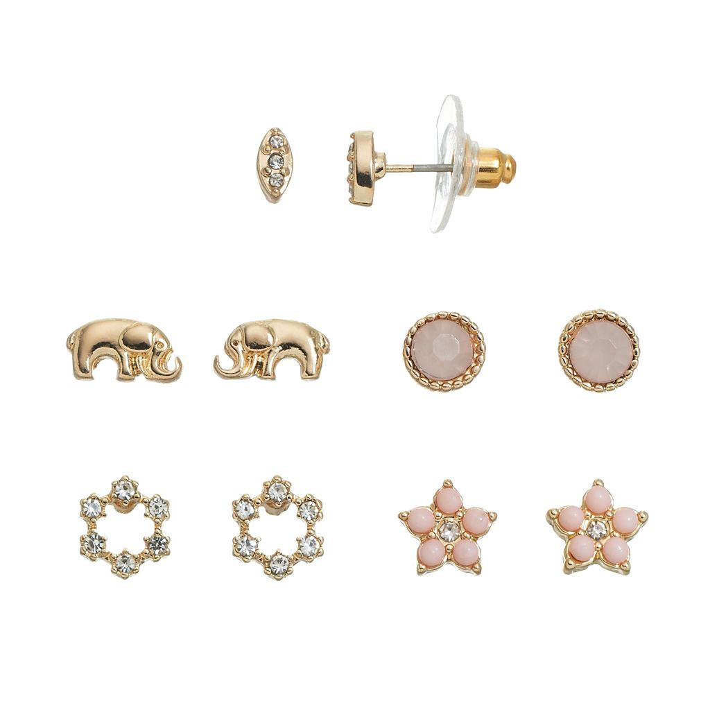 LC Lauren Conrad Elephant & Flower Stud Earring Set