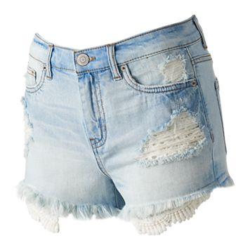 Juniors' Mudd® Crochet Pocket Ripped Shortie Shorts