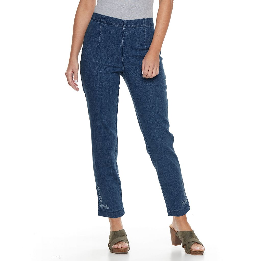 Petite Croft & Barrow® Embroidered Ankle Jeans