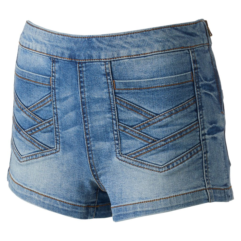 Juniors' Mudd® Crisscross Denim Shortie Shorts