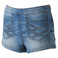 Juniors' Mudd® Crisscross Denim Shortie Shorts