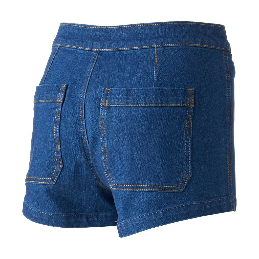 Juniors' Mudd® Lace-Up Denim Shortie Shorts