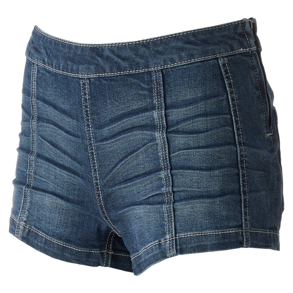 Juniors' Mudd® Whiskered Denim Shortie Shorts