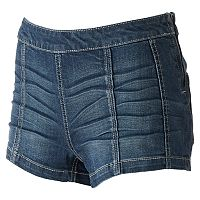 Juniors' Mudd® Whiskered Denim Shortie Shorts