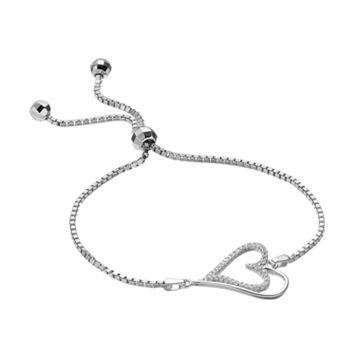 Sterling Silver Cubic Zirconia Heart Bolo Bracelet