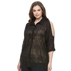 Plus Size Design 365 Pointelle Cold-Shoulder Top