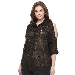 Plus Size Design 365 Pointelle Cold-Shoulder Top