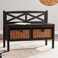 Parsons X-Back Bench with Storage Baskets