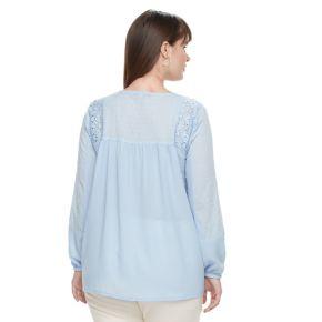 Plus Size Design 365 Lace Peasant Top