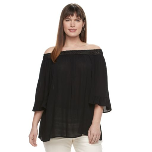 Plus Size Design 365 Off The Shoulder Ruffle Sleeve Top