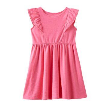 Baby Girl Jumping Beans® Pom-Pom Trim Flutter Short Sleeve Solid Slubbed Dress
