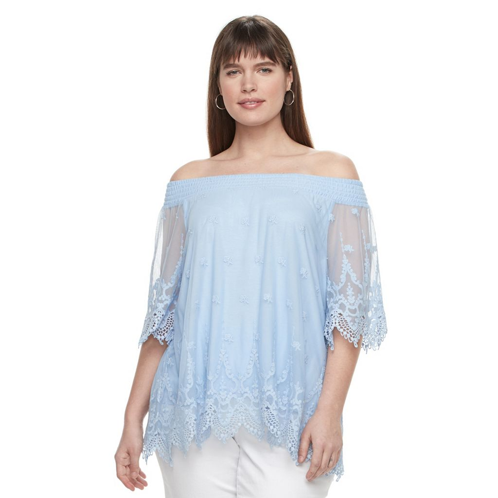 Plus Size Design 365 Off The Shoulder Sheer Top
