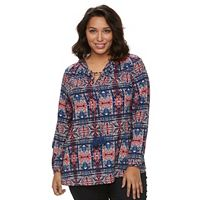 Plus Size Design 365 Tassel Peasant Top